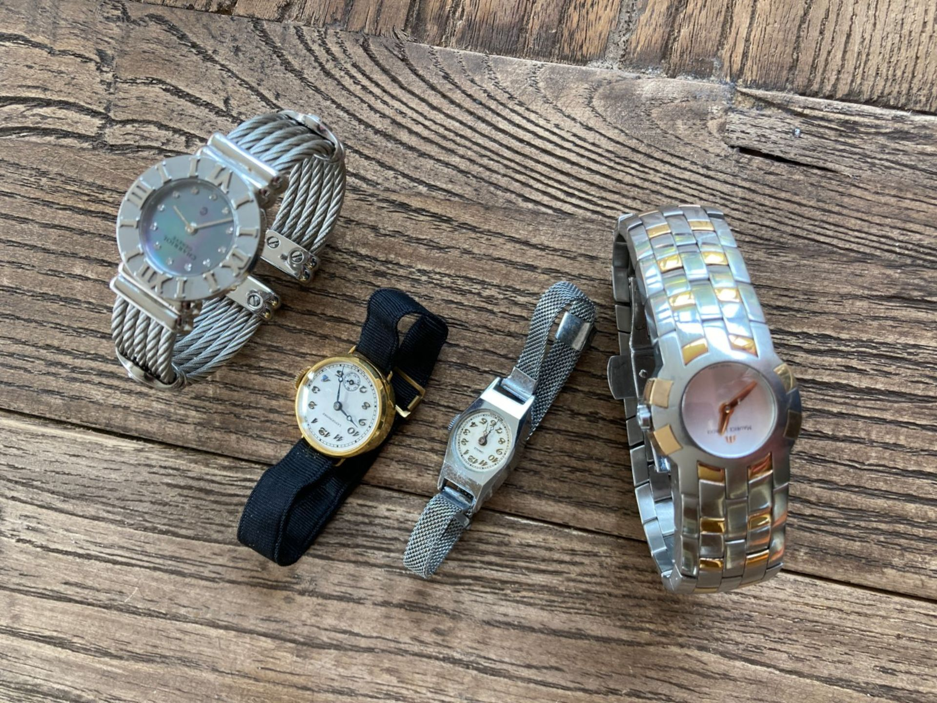 MIXED WATCHES INC MAURICE LACROIX STEEL AND GOLD, CHARRIOL DIAMOND SET ETC