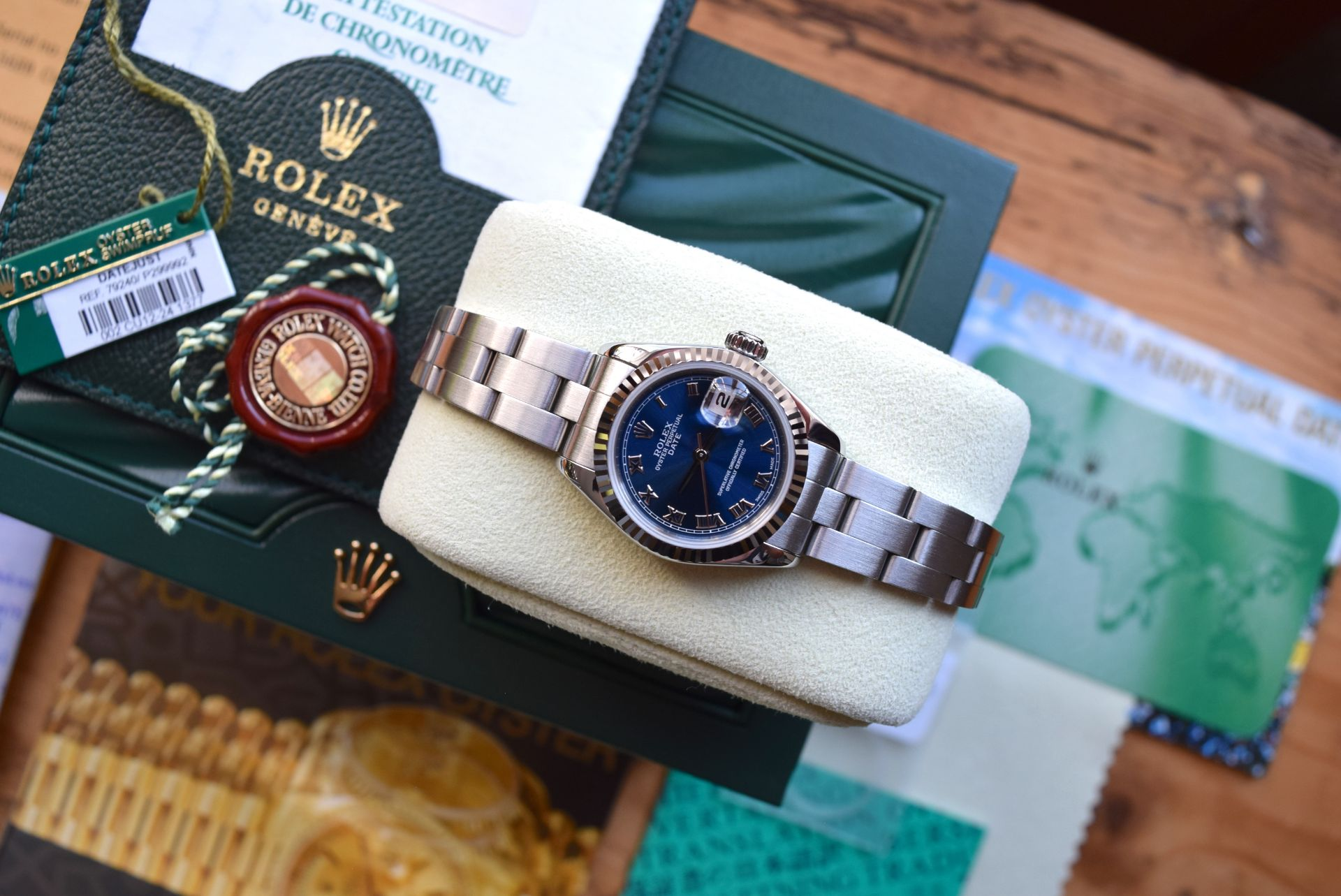 *FULL SET* ROLEX DATEJUST (LADIES) STEEL & 18CT WHITE GOLD - NAVY BLUE 'ROMAN NUMERAL' DIAL - Image 9 of 19
