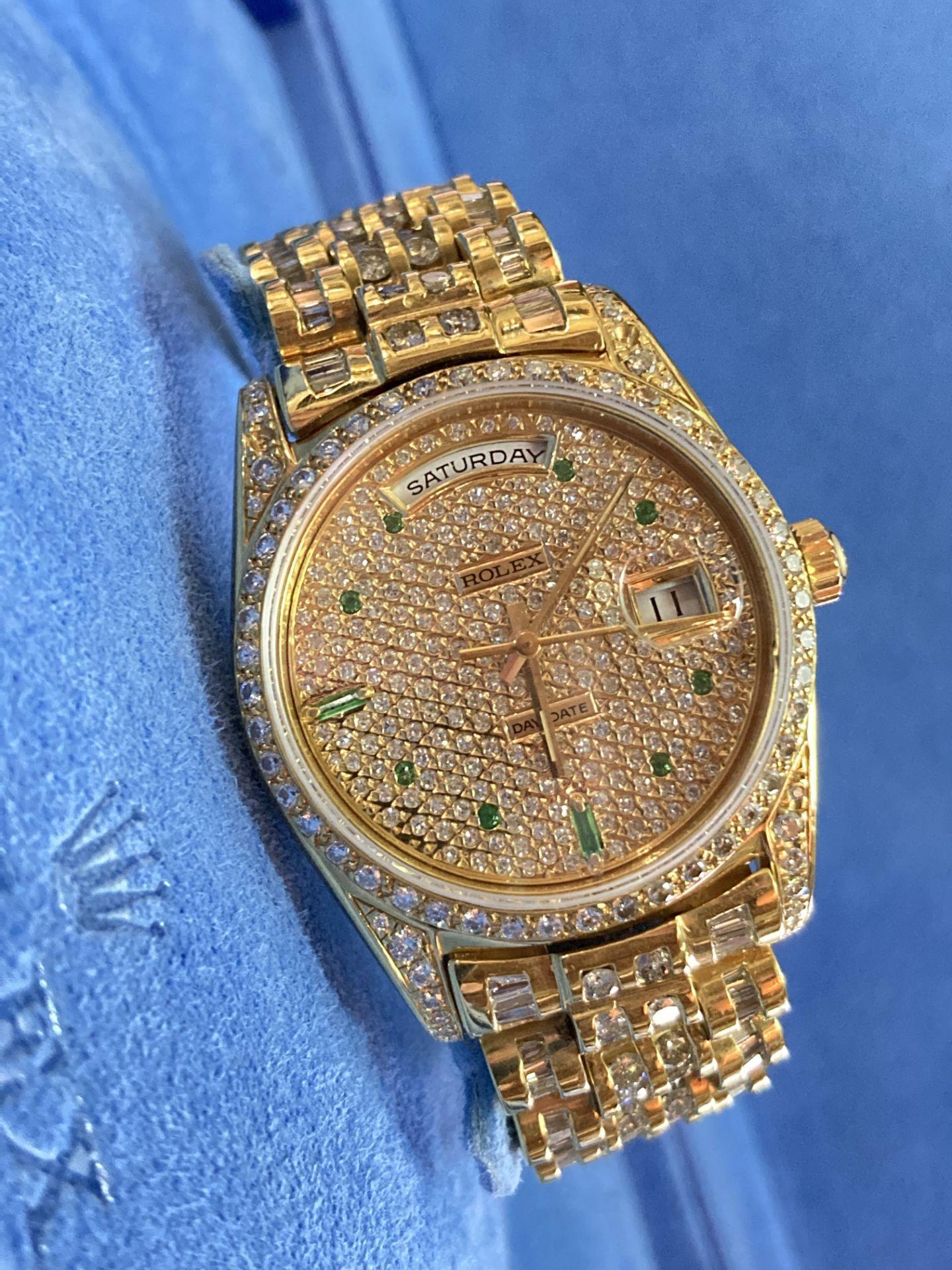 GENTS 36mm ROLEX DAYDATE YELLOW GOLD DIAMOND WATCH - Image 6 of 21