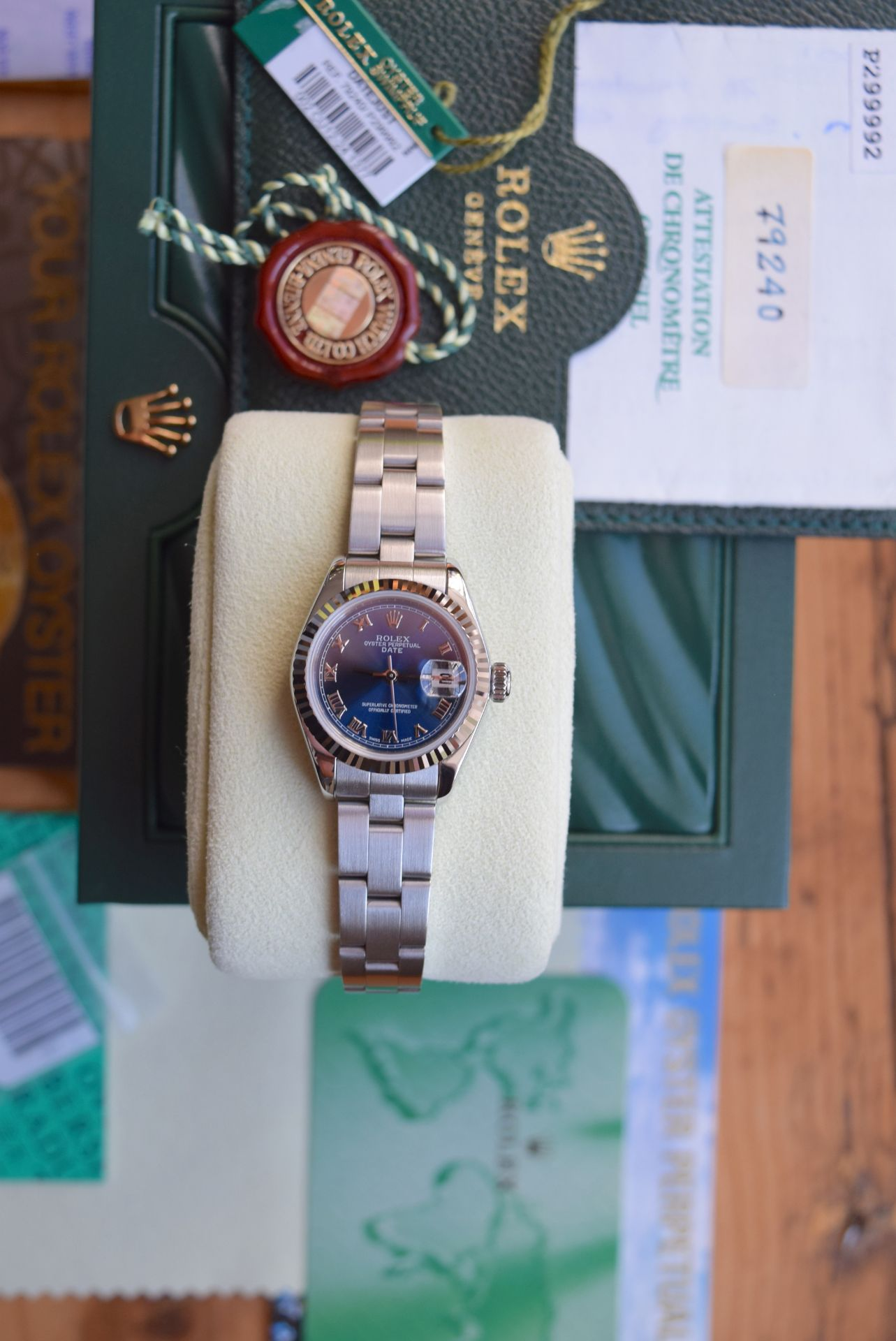 *FULL SET* ROLEX DATEJUST (LADIES) STEEL & 18CT WHITE GOLD - NAVY BLUE 'ROMAN NUMERAL' DIAL - Image 2 of 19