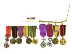 Lot of miniatures BELGIUM Order of Leopold, Order of the crown, War Cross, gold medal civilian