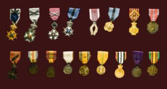 Lot of decorations BELGIUM, Frame, 68cm x 40cm, composed of 17 decorations, Order of Leopold,