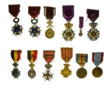 Group of decorations, BELGIUM, Order of Leopold, civilian officer's cross, bilingual; miniature,