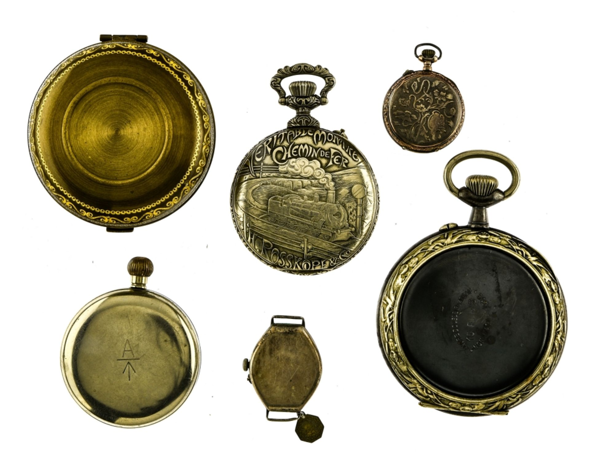 Lot of 6 watches including 4 pocket watches, a travel alarm clock and a wristwatch. - Image 2 of 7