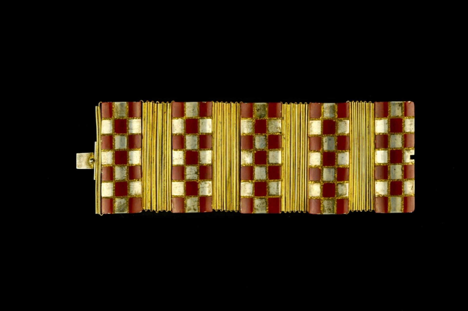 Jean DUNAND (1877 - 1942) Articulated bracelet, ca. 1922 Sterling silver, gilt metal, and red and - Image 2 of 3