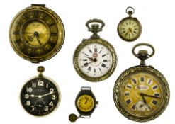 Lot of 6 watches including 4 pocket watches, a travel alarm clock and a wristwatch.