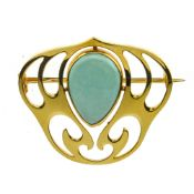MAPPIN & WEBB Art Nouveau brooch 15 kt yellow gold, set with a turquoise-coloured stone.