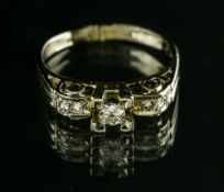 Ring set with five diamonds 18 kt white gold, set with an approx. 015 ct brilliant, flanked by