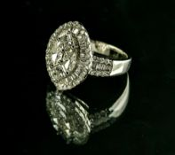 Marquise ring set with diamonds 18 kt white gold, numbered 0893, set with two princess-cut