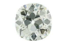 Large cushion-cut diamond 6.45 ct weight, VS1 clarity and colour I, no fluorescence. Polished culet.