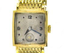 Square, yellow gold bracelet watch 18k yellow gold bracelet watch. Square, 18k yellow gold casing.