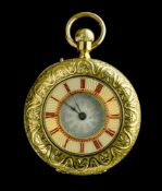 """Yellow gold fob watch LATE 19TH CENTURY 18 kt yellow gold fob watch. """"Half hunter"""" casing covered in"""