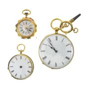 Lot of 3 fob watches 1. 18k gold fob watch Porcelain dial with Roman numerals and external rail