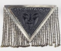 In the style of Paul VŽra in collaboration with Fouquet Art Deco mask brooch FRENCH WORK CA. 1920/30