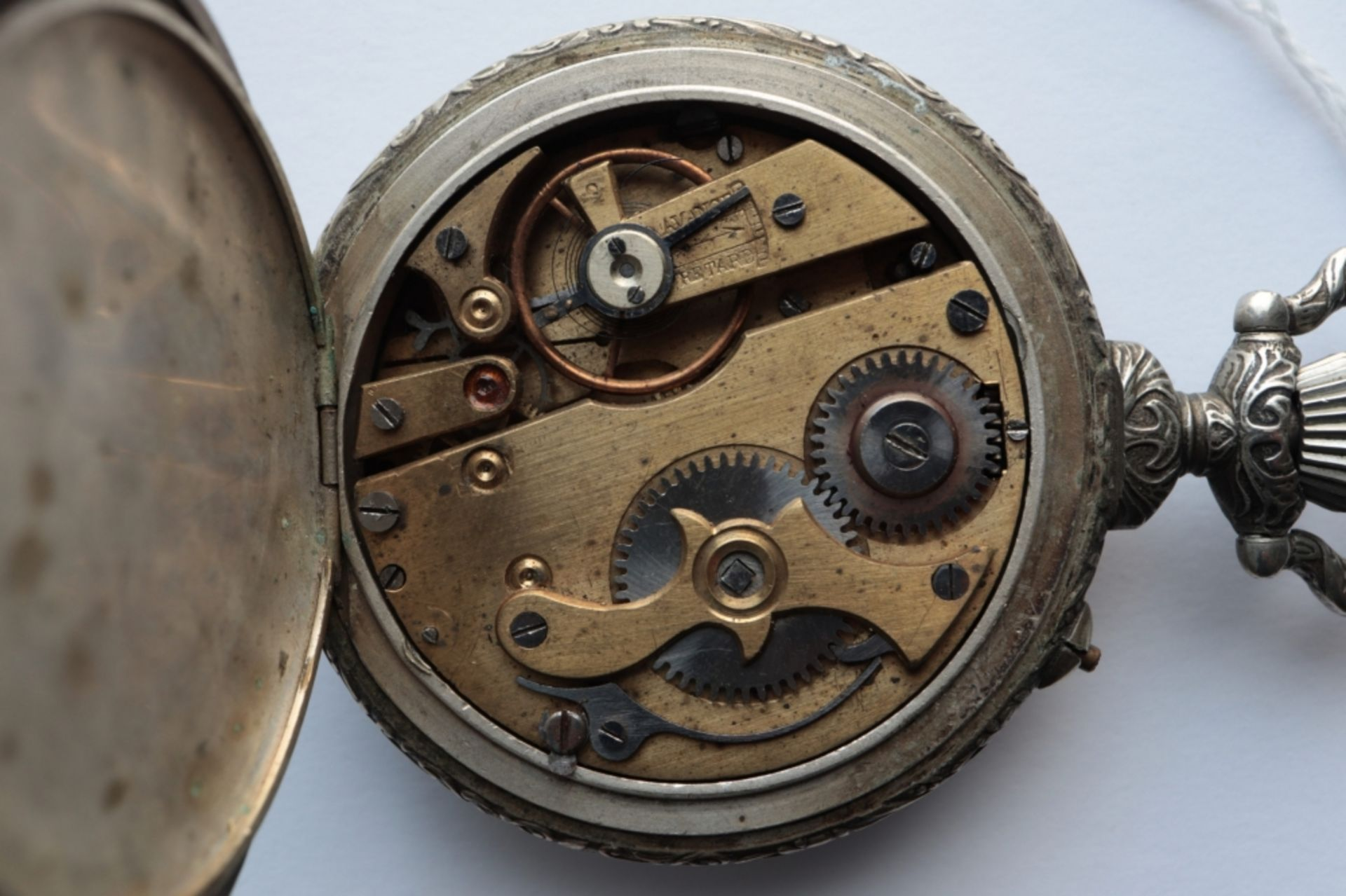 Lot of 6 watches including 4 pocket watches, a travel alarm clock and a wristwatch. - Image 7 of 7