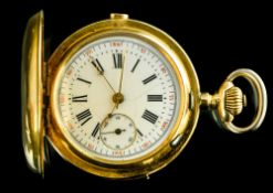 Yellow gold fob watch (repetition and chronograph) SWITZERLAND - LATE 19TH CENTURY 18 kt gold fob