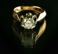Solitaire ring RUSSIAN WORK, SOVIET ERA 14 kt rose gold, set with a +/- 0.90 ct diamond (SI3) and