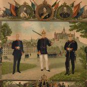 Paar Reservistenbilder 1 x 5. Bayr. Feld. Art. Reg., mit Darstellung Kaiser Wilhelms II., des bayer