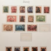 Sammlung Briefmarken Danzig gestempelt, schöner Sammlungsgrundstock, von den Germania-Aufdruckmark