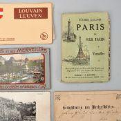 """Konvolut historische Postkarten und Stadtführer dabei u.a.: 1 x 20 historische Parisansichten """"Par"""