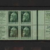 Briefmarken Altdeutschland - Bayern sehr seltenes Markenheftchenblatt, Nr. 2 mit Mi.-Nr. 77 (5 Pf P