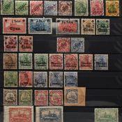 Konvolut Briefmarken Deutsche Kolonien postfrisch und gestempelt, dabei Ausgaben China, Marokko, De
