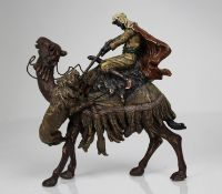 Bronze Orientalist Figure on Camel Shooting Lion