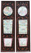 2 Chinese Famille Rose Inset Porcelain Wall Panels