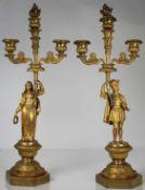 Antique French Figural Gilt Bronze Candelabra