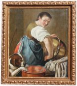 18th C. Painting of Woman & Dog. Ex Christie's