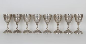 (8) Maciel Mexican Hand Hammered Silver Goblets