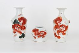 (3) Antique Chinese Dragon Vases