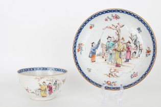 Antique Chinese Export Figural Cup and Saucer