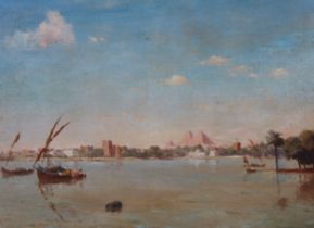 19th C. Orientalist Painting with Pyramids
