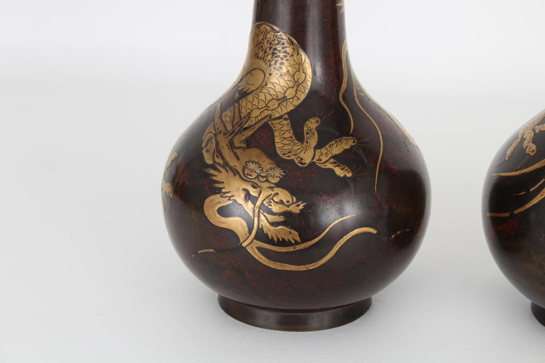 (2) Antique Bronze/Gold Japanese Dragon Vases - Image 2 of 7