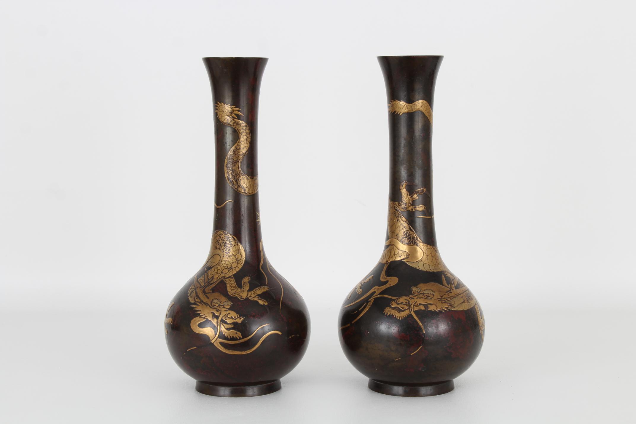 (2) Antique Bronze/Gold Japanese Dragon Vases