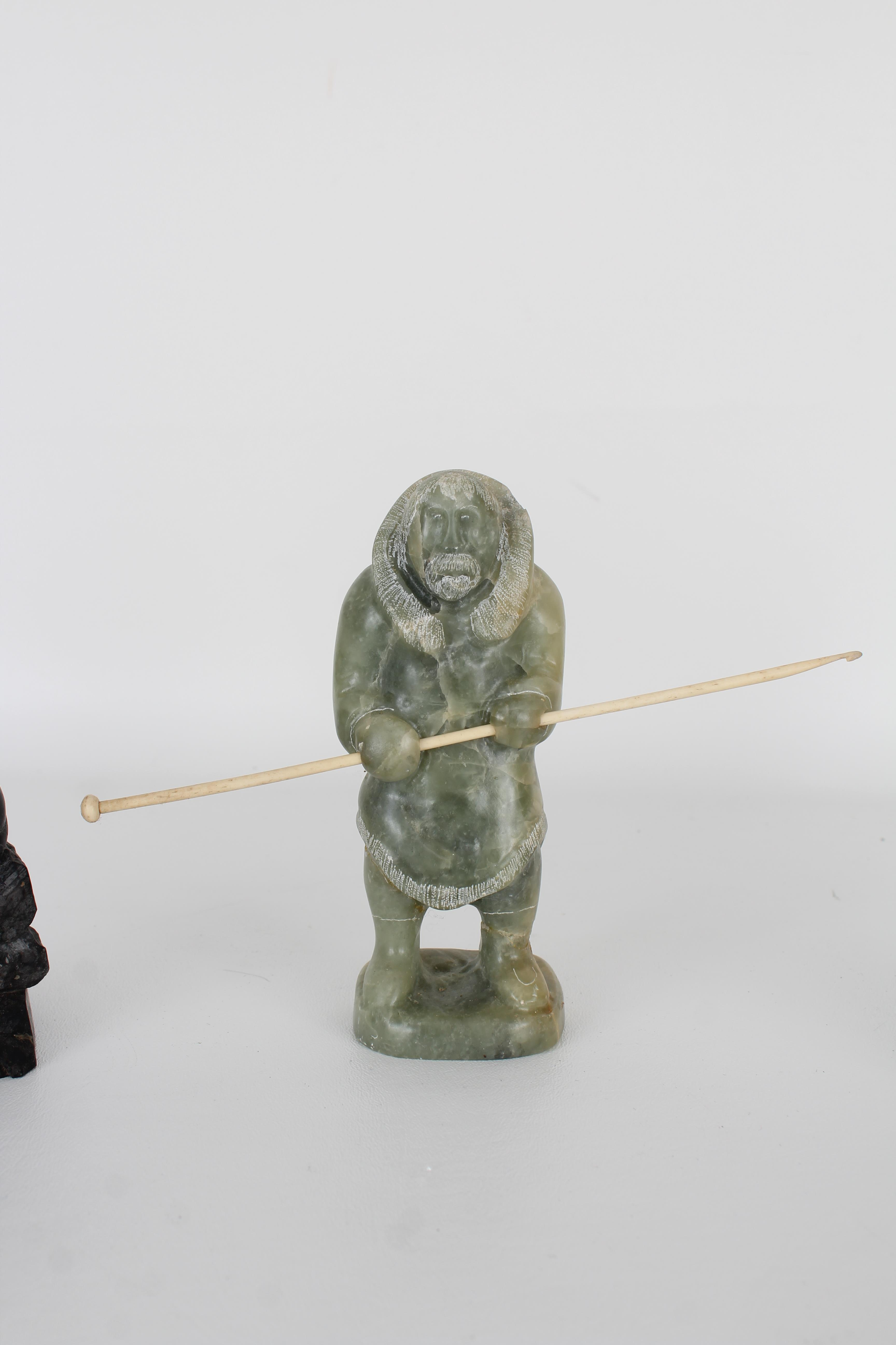(3) Carved Stone Inuit Figures, Signed - Image 3 of 7