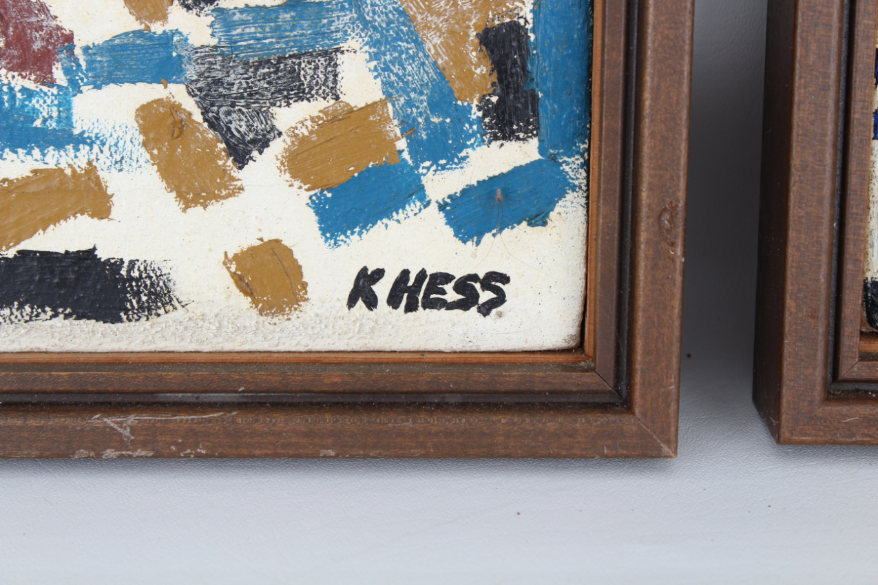 (2) Hess, Mid Century Abstract Paintings - Image 4 of 5