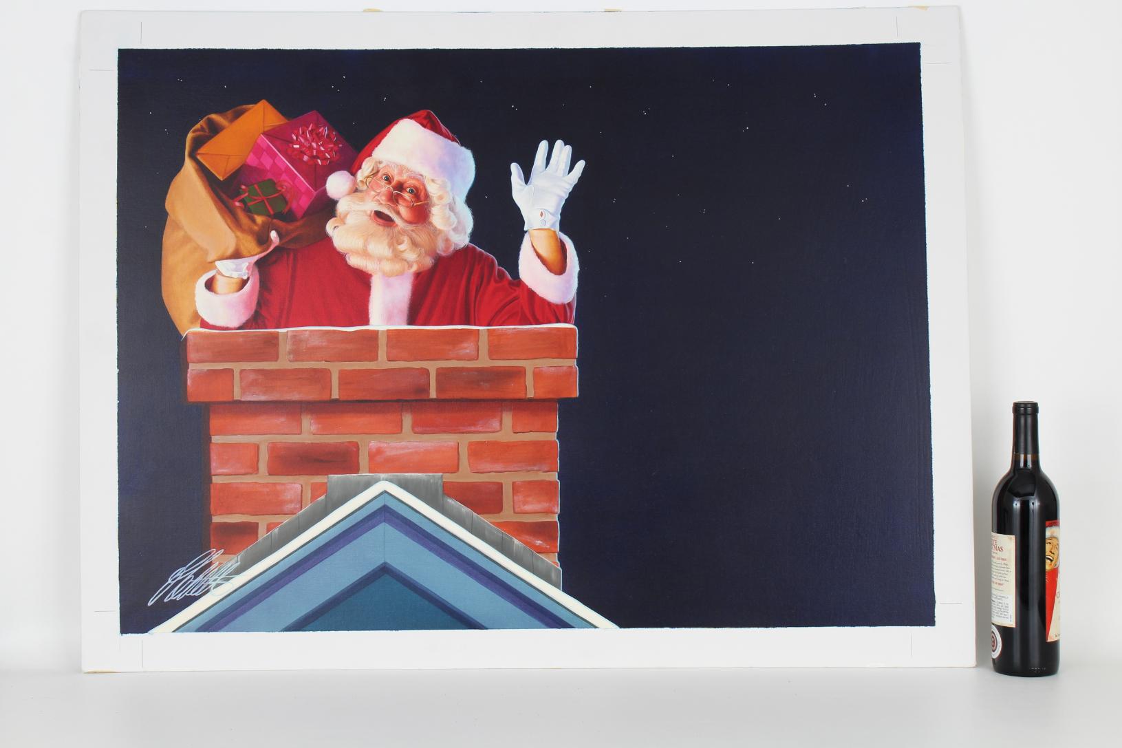 """Ed Little (B. 1957) """"Santa Claus"""" Original Oil - Image 2 of 5"""