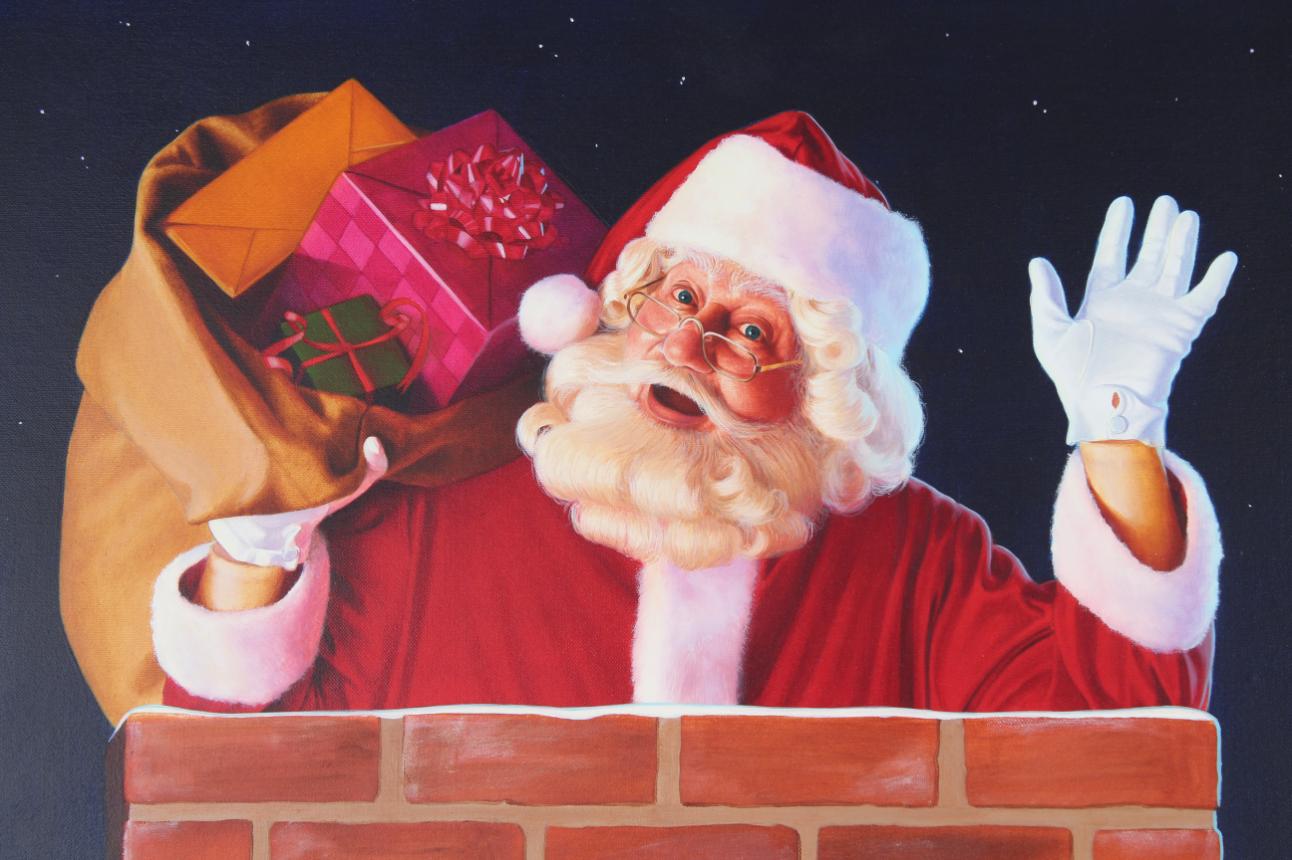 """Ed Little (B. 1957) """"Santa Claus"""" Original Oil - Image 3 of 5"""