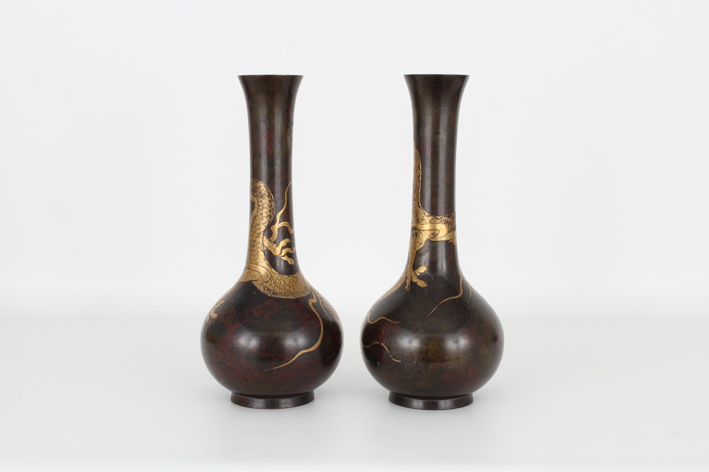 (2) Antique Bronze/Gold Japanese Dragon Vases - Image 4 of 7