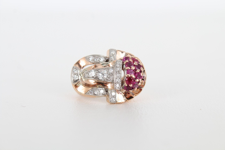 14K Ruby & Diamond Gold Ring