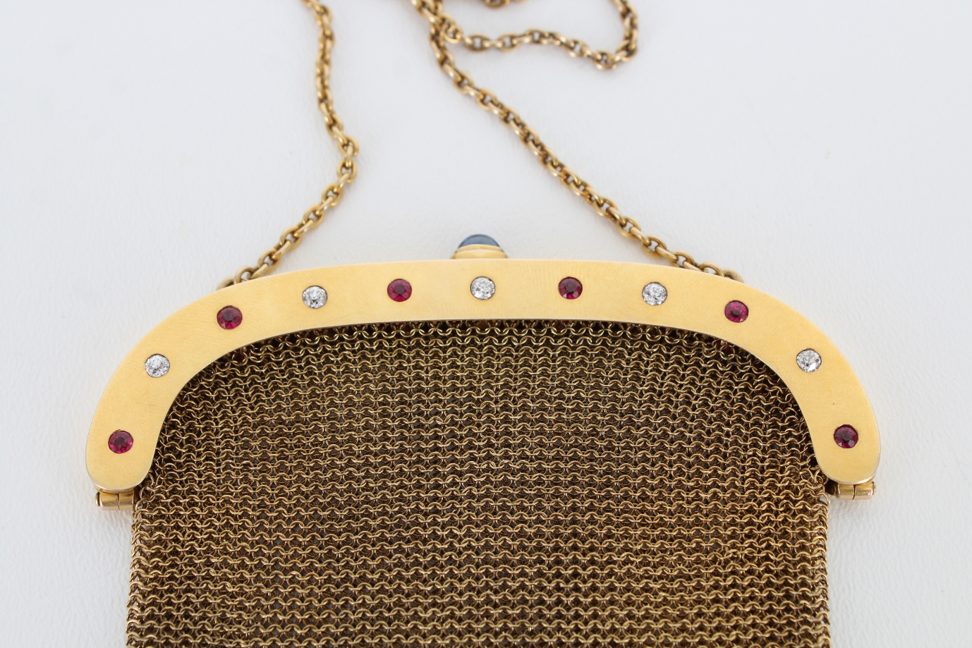 14K Gold Mesh Coin Purse w/ Diamond & Ruby Clasp - Image 3 of 6