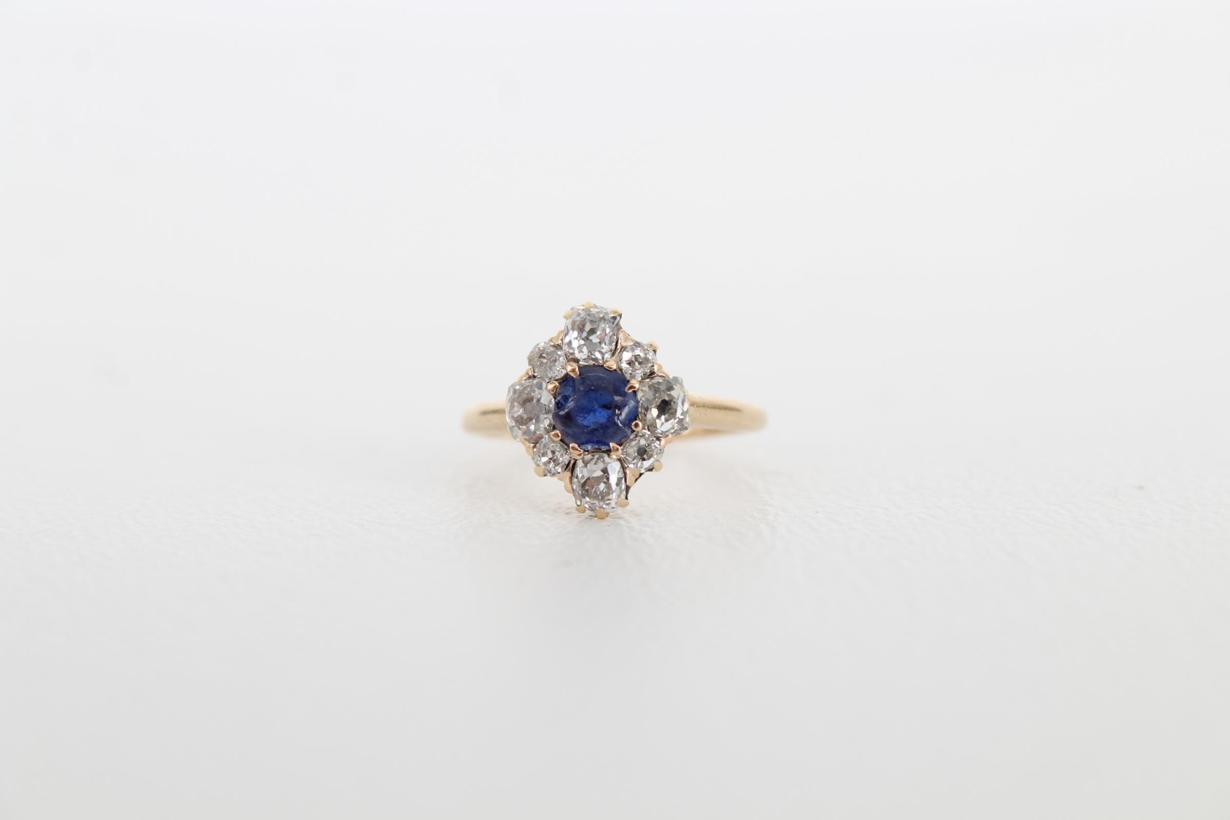Sapphire & Diamond Petite Gold Ring - Image 2 of 6