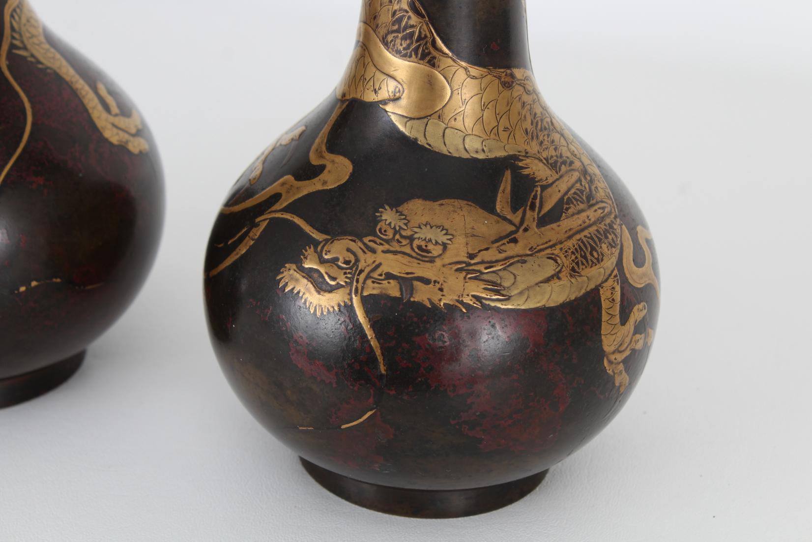 (2) Antique Bronze/Gold Japanese Dragon Vases - Image 3 of 7