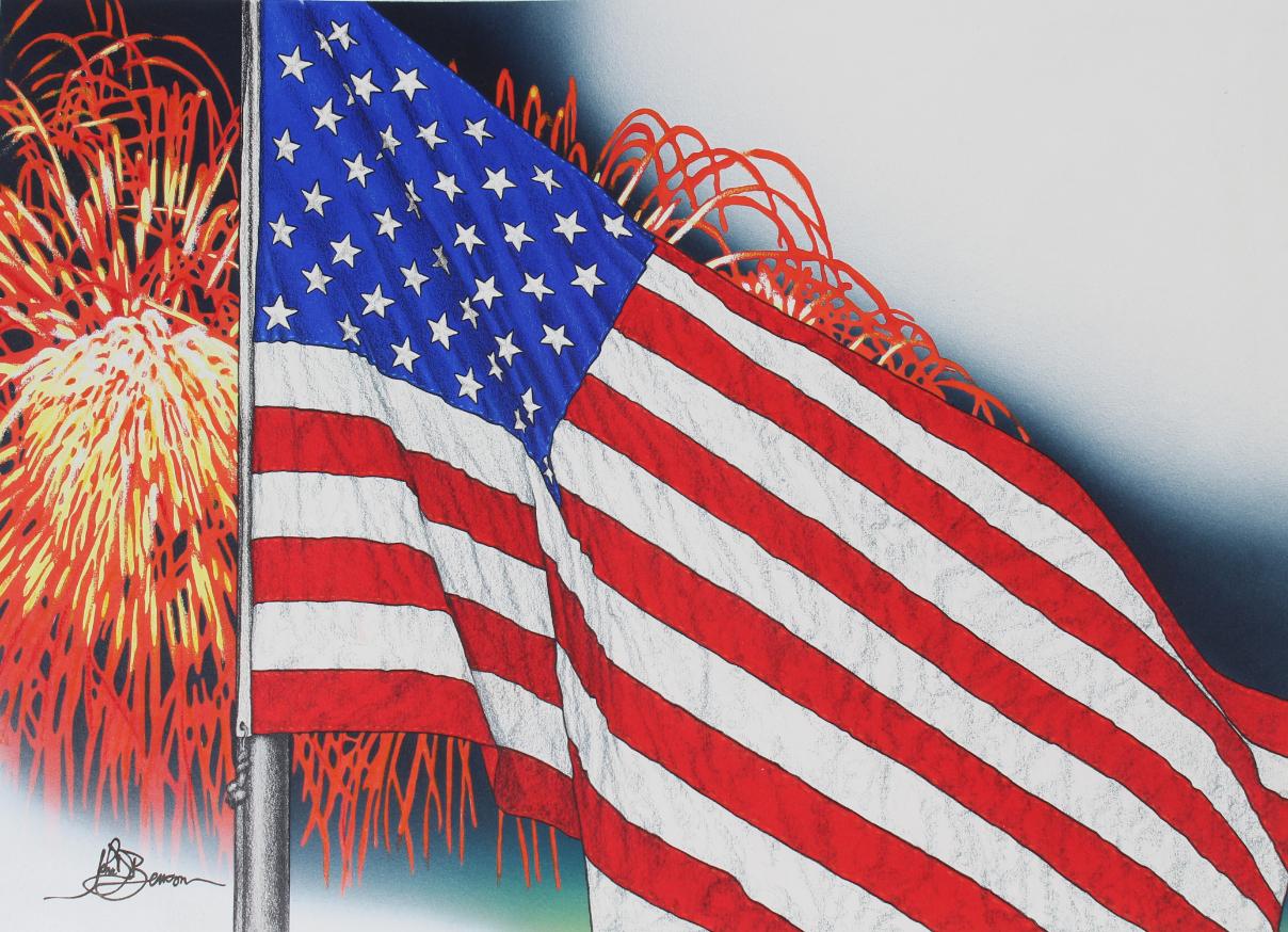 """John Benson (B. 1949) """"US Flag & Fireworks"""" Oil"""