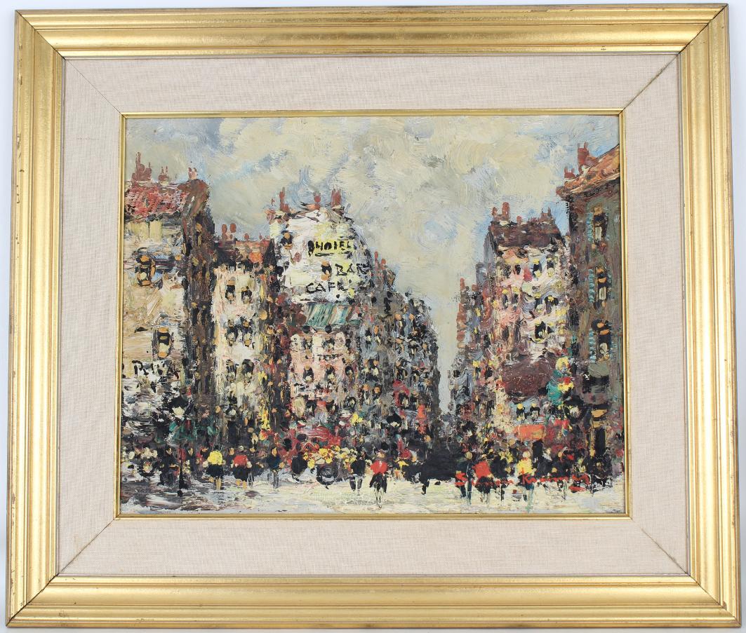 Simon Kramer (Born 1940) Parisian Street Scene