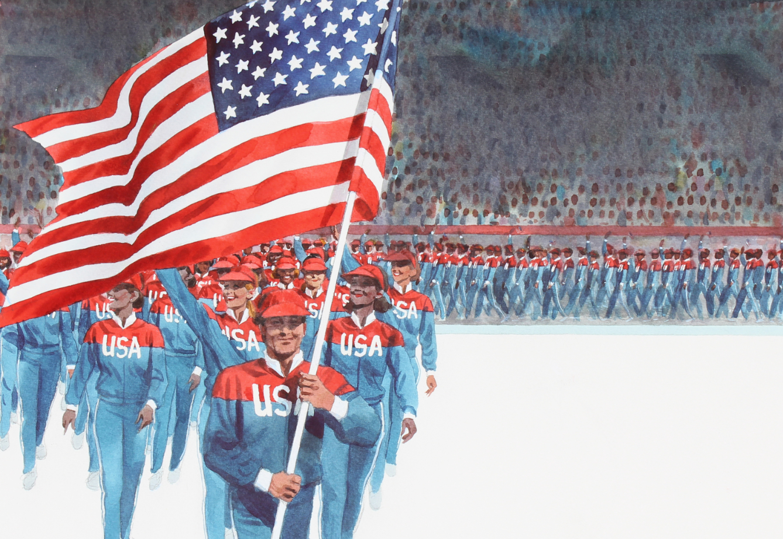 "Tom McNeely (B. 1935) ""Flag American Olympic Team"""