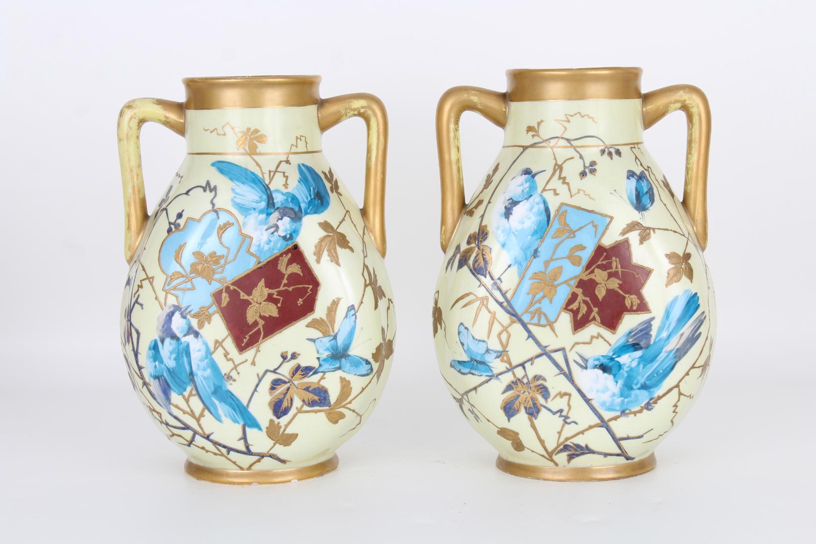 Pair, Antique French Aesthetic Period Vases