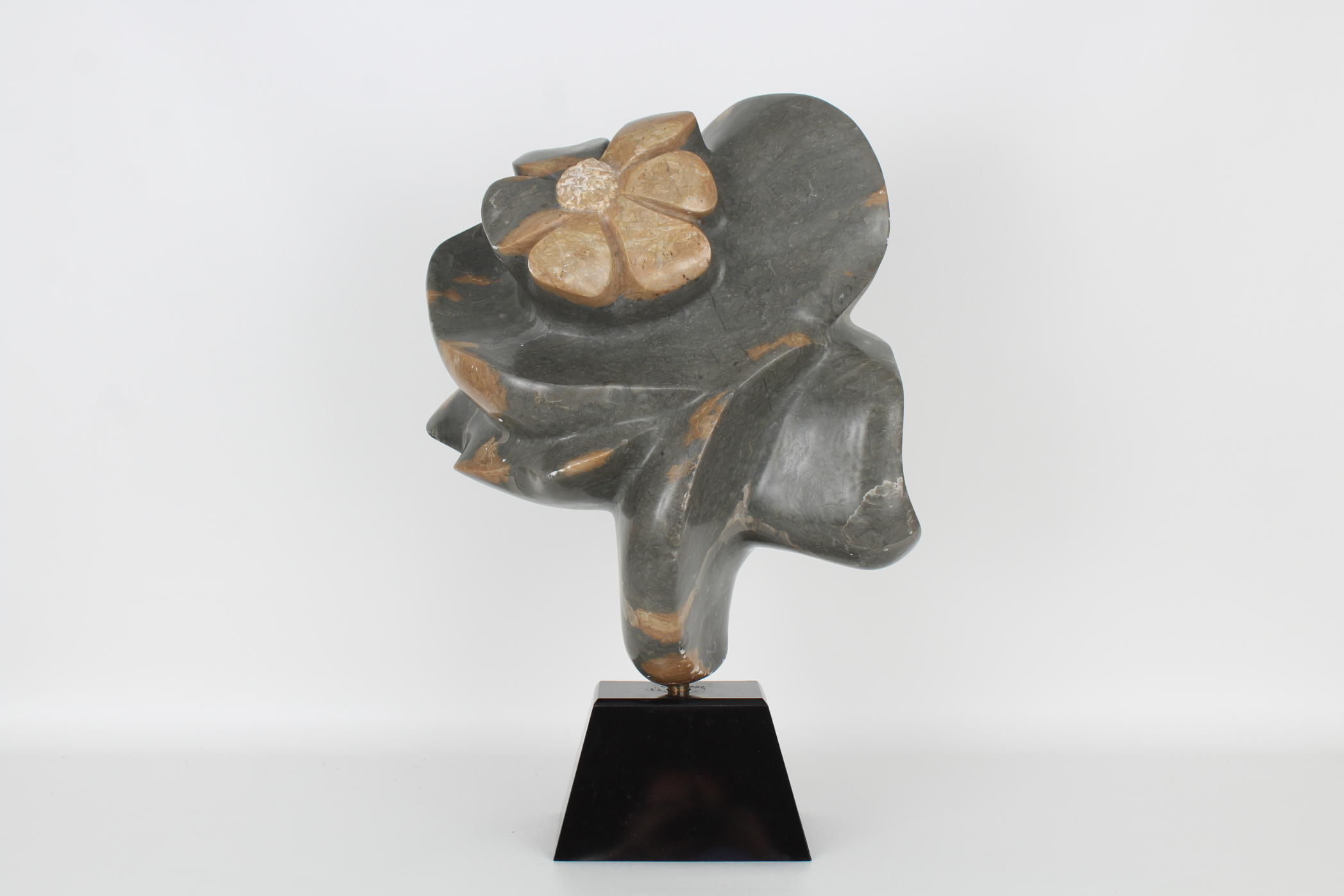 Chera, Large Carved Stone Floral Sculpture
